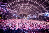 A view of the audience as Adventure Club performs at the Coachella valley music and arts festival at The Empire Polo Club on April 20 2014 in Indio...