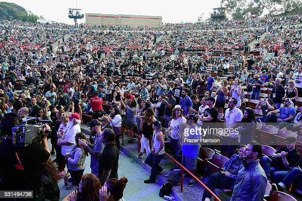 A view of the audience at KROQ Weenie Roast 2016 at Irvine Meadows Amphitheatre on May 14 2016 in Irvine California