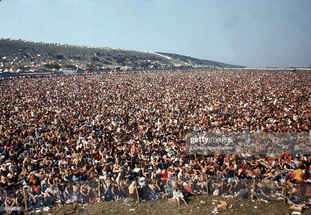 View of the audience at the Isle of Wight Festival in 1970 estimated at 600 East Afton Down Isle of Wight August 1970
