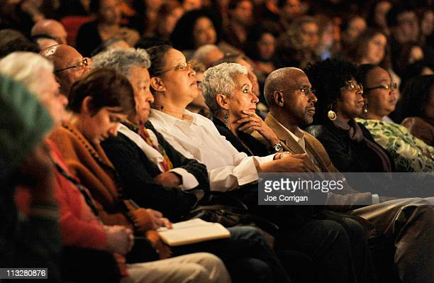 View of the audience at Tribeca Talk After The Movie 'Sing Your Song' during the 2011 Tribeca Film Festival at BMCC Tribeca PAC on April 29 2011 in...