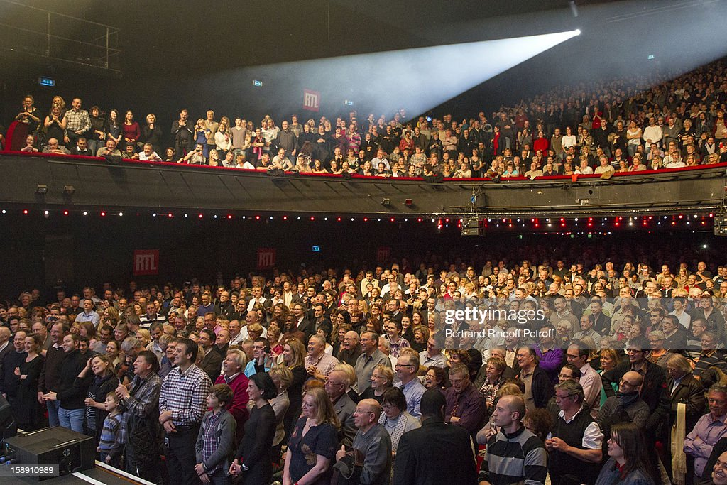 A view of the audience during French impersonator Laurent Gerra's one man show at Olympia hall on December 29, 2012 in Paris, France, as Gerra celebrates his birthday on stage.