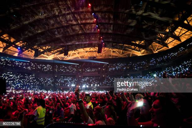 View of the audience during Juntos por Todos solidarity concert for the victims of the forest fires in the Pedrogao Grande region of Portugal on June...