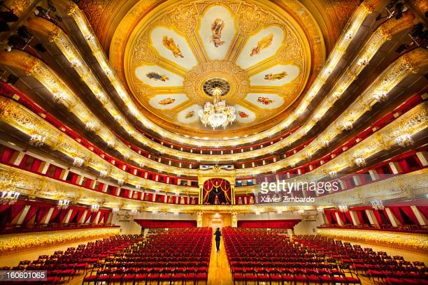 A view of the auditorium's ceiling and the large hanging chandelier in the Bolshoi Ballet Theater on September 22 2011 in Moscow Russia