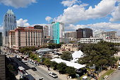 A view of the Austin city skyline during the 2015 SXSW Music Film Interactive Festival on March 13 2015 in Austin Texas
