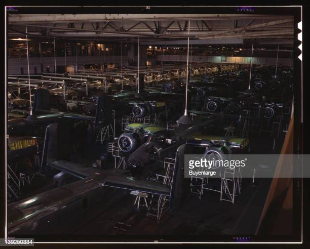 View of the B25 final assembly line at North American Aviation's Inglewood California plant 1942