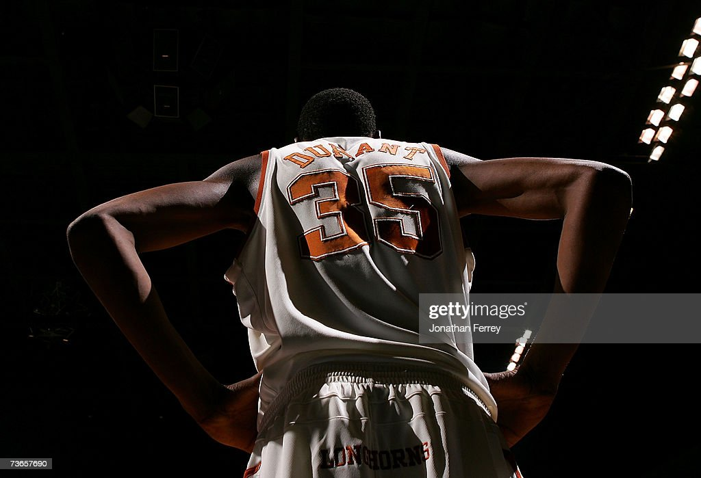 A view of the back of Kevin Durant of the Texas Longhorns during the first round of the NCAA Men's Basketball Tournament against the New Mexico State...