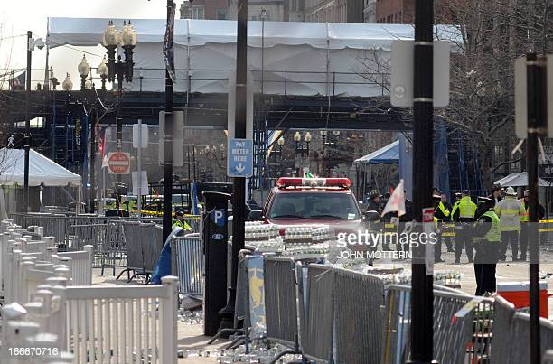 View of the back side of the finish line at the Boston Marathon where several explosions rocked the event sending over 100 people to local hospitals...