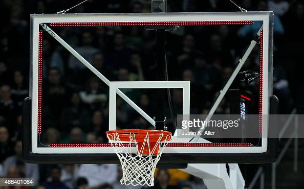 A view of the backboard rim and net during the third round of the 2015 NCAA Men's Basketball Tournament at Consol Energy Center on March 21 2015 in...