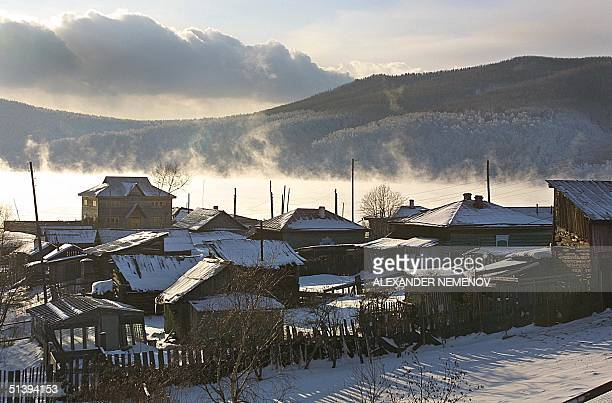 A view of the Baikal lake taken 11 December 2000 from the village of Listvyanka 70 km from Siberian city of Irkutsk Buryat ethnic Mongols settled the...