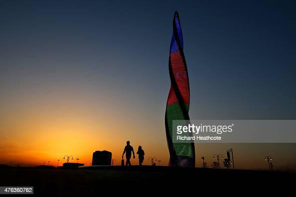 A view of the Baku Flame Fountain at sunset ahead of Baku 2015 the 1st European Games on June 8 2015 in Baku Azerbaijan
