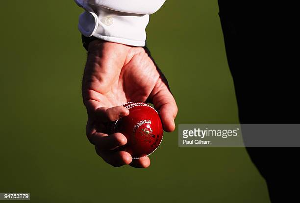 A view of the ball being carried out to the wicket by umpire Steve Davis during day three of the first test match between South Africa and England at...