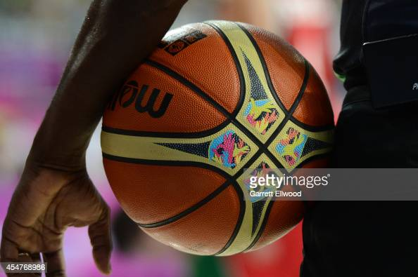 A view of the ball used in the game of the USA Basketball Men's National Team against the Mexico National Team during the 2014 FIBA World Cup at...