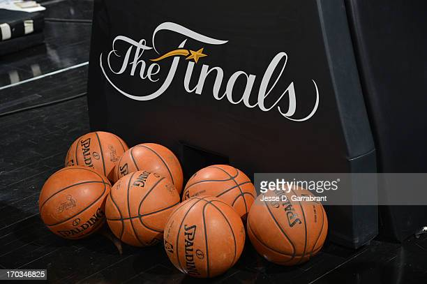 A view of the balls and Finals logo in the game of the Miami Heat against the San Antonio Spurs during Game Three of the 2013 NBA Finals on June 11...