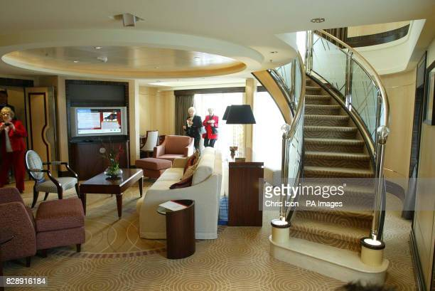 View of the Balmoral Suite aboard Cunard's Queen Mary 2 which is berthed at Southampton docks before being named by Her Majesty the Queen tomorrow...