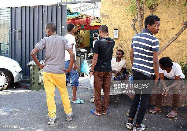 A view of the Baobab Centre for migrants entrance in the area of Romes Tiburtina station on June 17 2015 in Rome Italy Hundreds of migrants mostly...