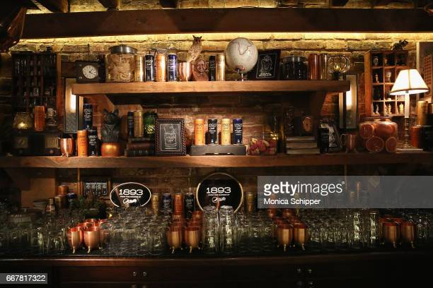 A view of the bar at the launch of the new 1893 flavors Black Currant Cola and Citrus Cola at The Dead Rabbit on April 12 2017 in New York City