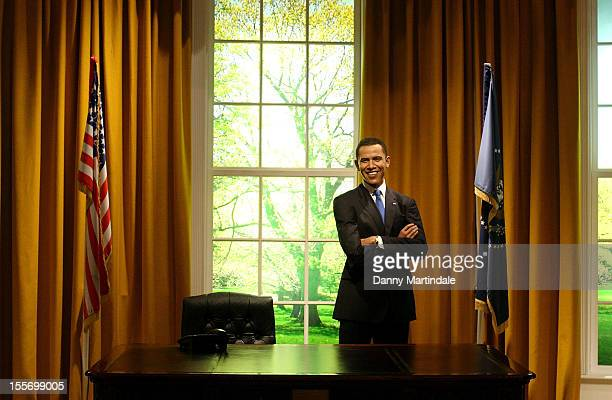 View of the Barack Obama waxwork on the day he was reelected as US President at Madame Tussauds on November 7 2012 in London England