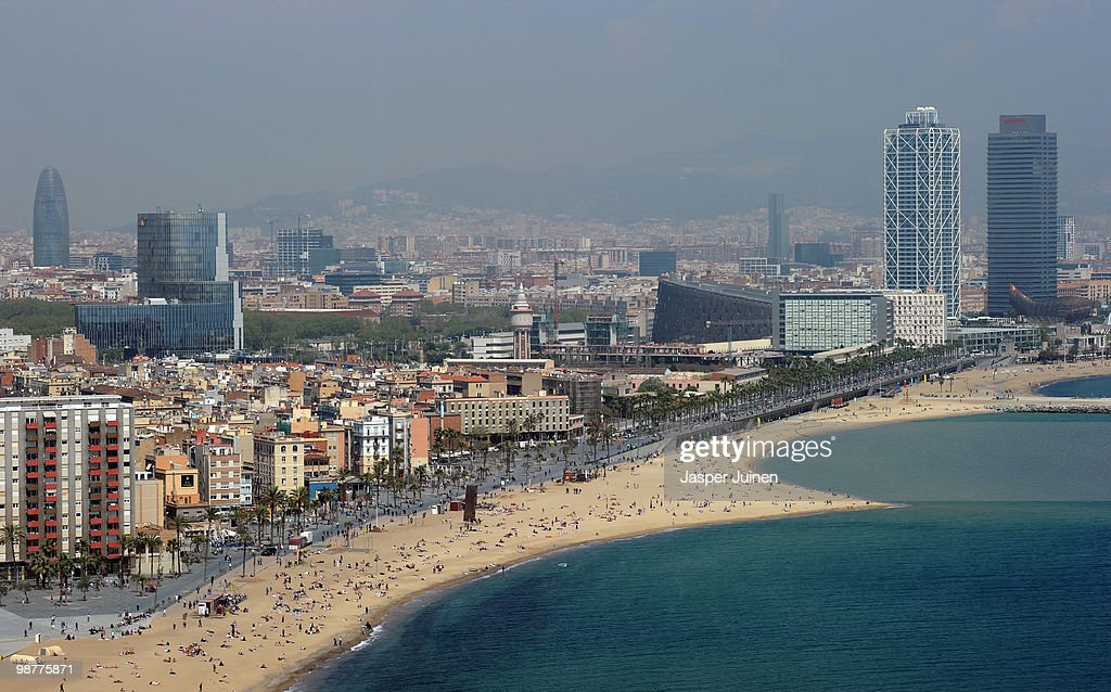 View of the Barceloneta beach on April 19, 2010 in Barcelona, Spain.