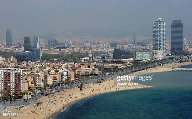 View of the Barceloneta beach on April 19 2010 in Barcelona Spain
