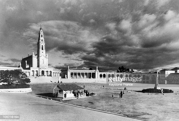 View Of The Basilica Of Fatima In Portugal With The Small Chapel Of The Virgin'S Apparition In The Center In The 1940S1950S
