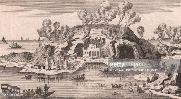 View of the Baths of Tritoli on the Lucrine Lake between Baia and Pozzuoli Phlegraean Fields Campania Italy copper engraving 16x89 cm from Lo stato...