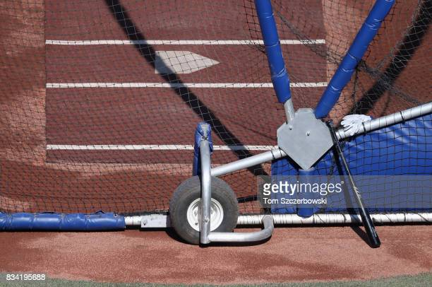A view of the batting cage during batting practice before the start of the Toronto Blue Jays MLB game against the Tampa Bay Rays at Rogers Centre on...