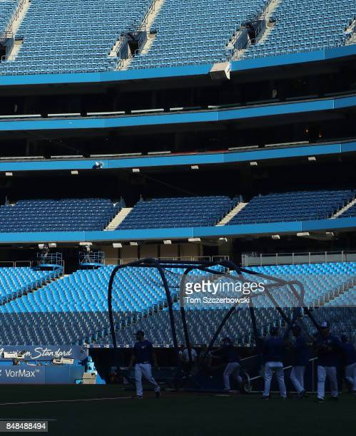 A view of the batting cage with the empty stands in the background as the Toronto Blue Jays take batting practice before the start of MLB game action...