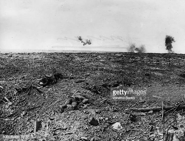 View of the Battlefield showing dead Courcelette October 1916 British Front France General Battle Somme