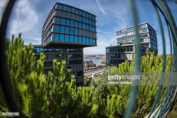 View of the bay from Estoril Sol Residence a 14story condominium building facing the sea near Praia das Moitas on August 23 2017 in Cascais Portugal...