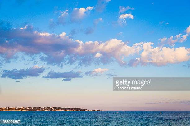 View of the bay of Cannes, French Riviera at dusk