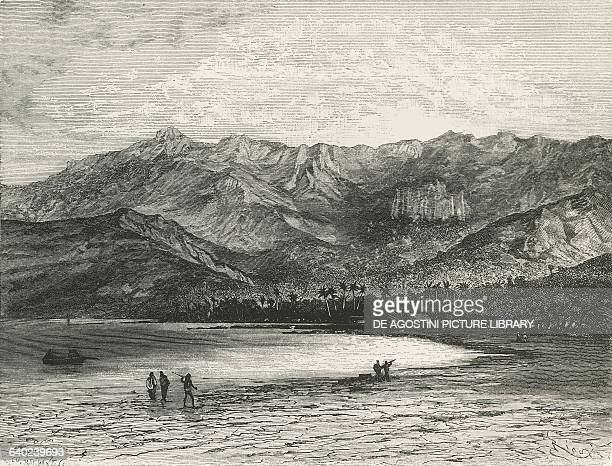 View of the Bay of Taiohae on Nuku Hiva island Marquesas islands engraving from Le Tour du Monde magazine 1875 Polynesia 19th century