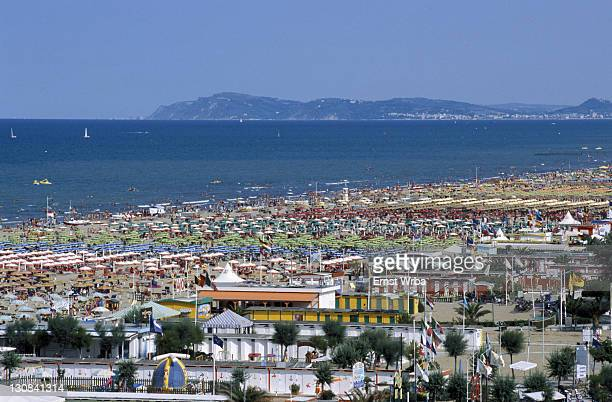 View of the beach and bagni (baths), Rimini, Emilia Romagna, Adriatic coast, Italy, Europe