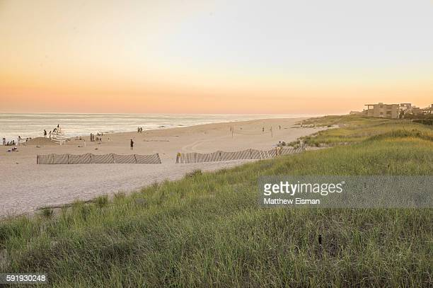 A view of the beach at B Floral's Evening of Florals Ocean Air and Cocktails with Bronwen Smith at Bridgehampton Tennis Surf Club on August 16 2016...