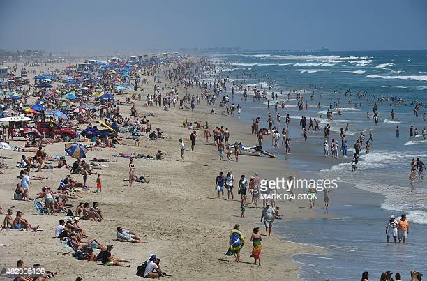 View of the beach during the second round of the men's heat at the US Open of Surfing in Huntington Beach California on July 29 2015 The event...