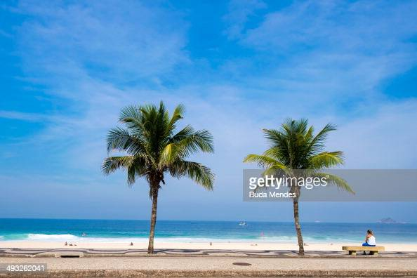 View of the beach in front of the hotel in Sao Conrado neighborhood south zone of the city which will host the England national football team during...