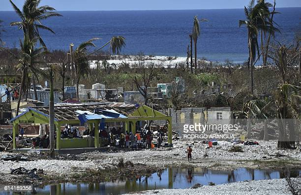 View of the beach in Port Salut southwest of PortauPrince on October 12 following the passage of Hurricane Matthew The first major handout of food...