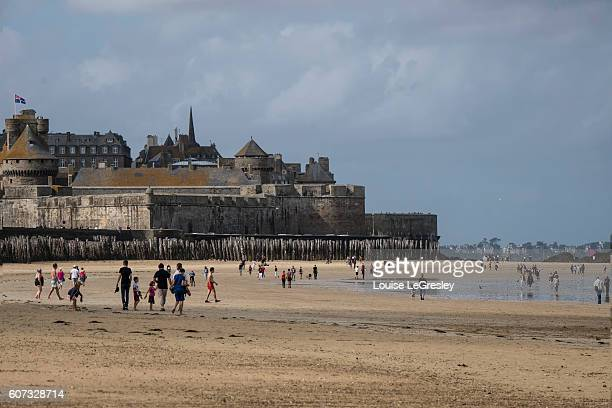 View of the beach in Saint-Malo, France with the town in the background