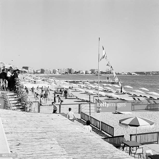 View of the beach of Cannes from Croisette