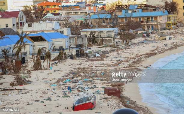 View of the beach on September 11 2017 in Philipsburg St Maarten The Caribbean island sustained extensive damage from Hurricane Irma