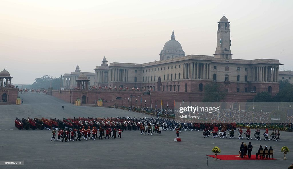 A view of the beating retreat ceremony at Vijay Chowk in New Delhi on Tuesday.