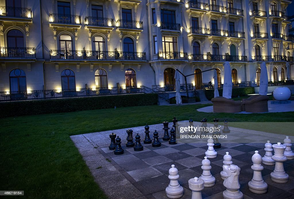 A view of the Beau Rivage Palace Hotel as Iran nuclear program talks continue into the night on a deadline day March 31 2015 in Lausanne Officials...