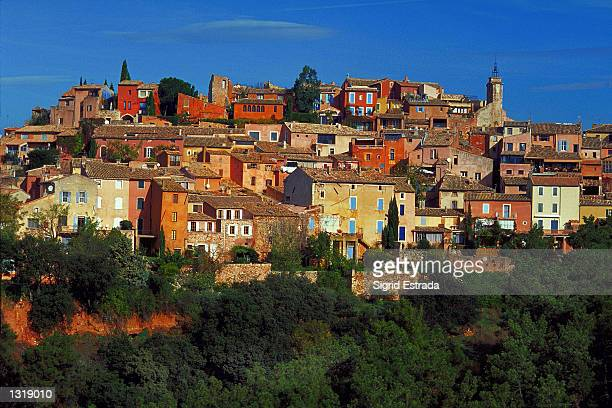 A view of the beautiful village of Roussillon in the south of France which is perched on the peak of a mountain October 2000 The houses are tightly...