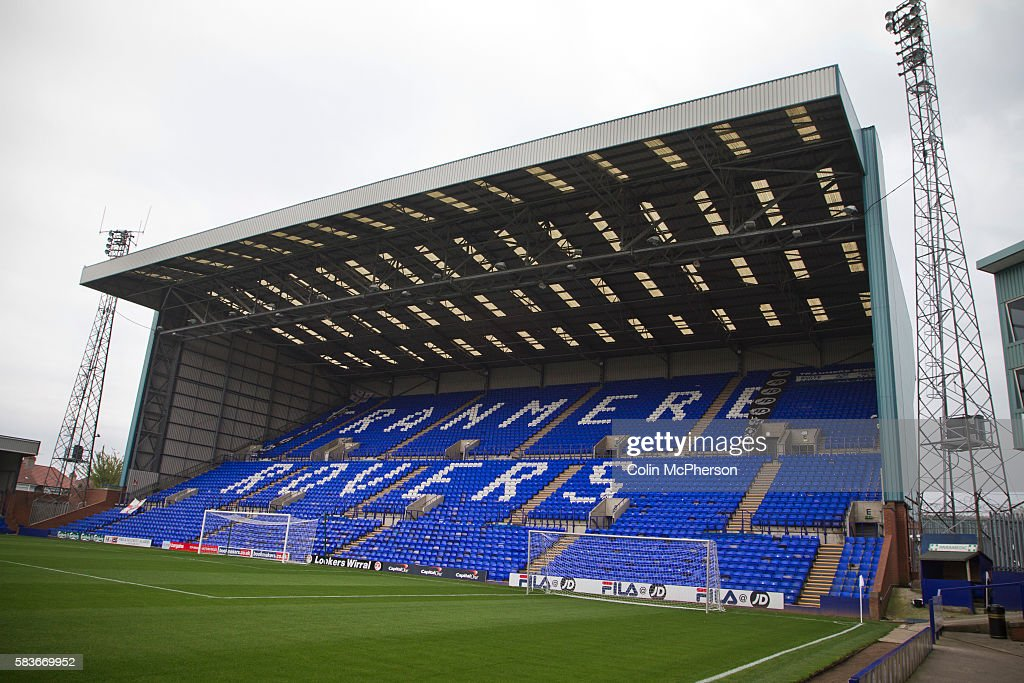 A View Of The Bebington Kop Stand At Prenton Park Stadium Home To Tranmere Rovers