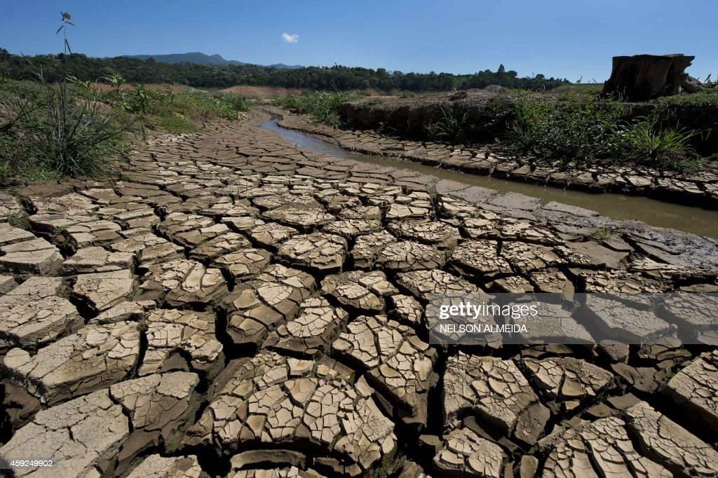 View of the bed of Jacarei river dam in Piracaia during a drought affecting Sao Paulo state Brazil on November 19 2014 The Jacarei river dam is part...
