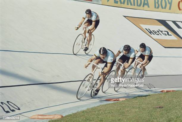 View of the Belgian men's team pursuit team pictured in action together during competition in the Men's team pursuit event at the 1970 UCI Track...