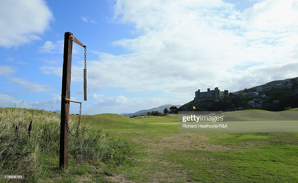 A view of the bell behind the 14th green during the second day of the Jacques Leglise Trophy at Royal St David's Golf Club on August 31, 2013 in Harlech, Wales.