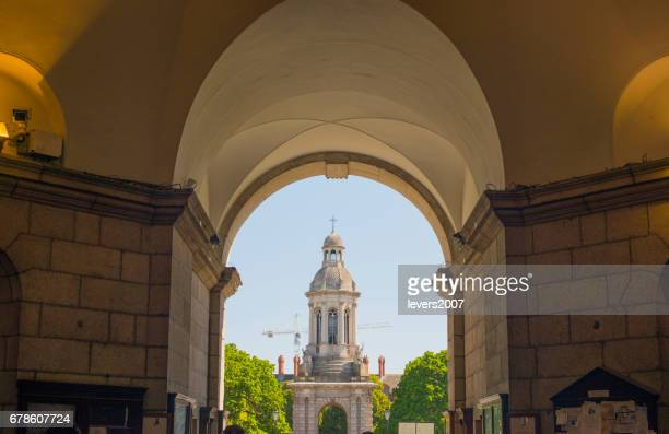 View of the Bell tower, Trinity College Dublin, Irealnd.