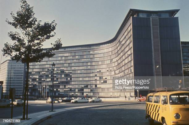 View of the Berlaymont Building headquarters of the Common Market later known as the European Commission in Brussels Belgium in 1971