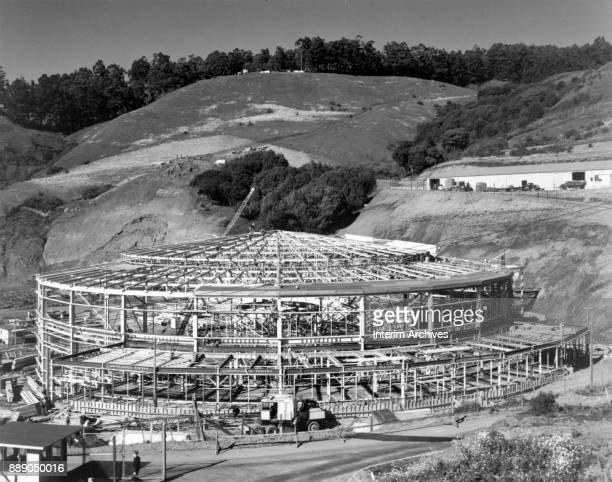View of the Bevatron particle accelerator during its construction at the University of California Radiation Laboratory Berkeley California March 28...