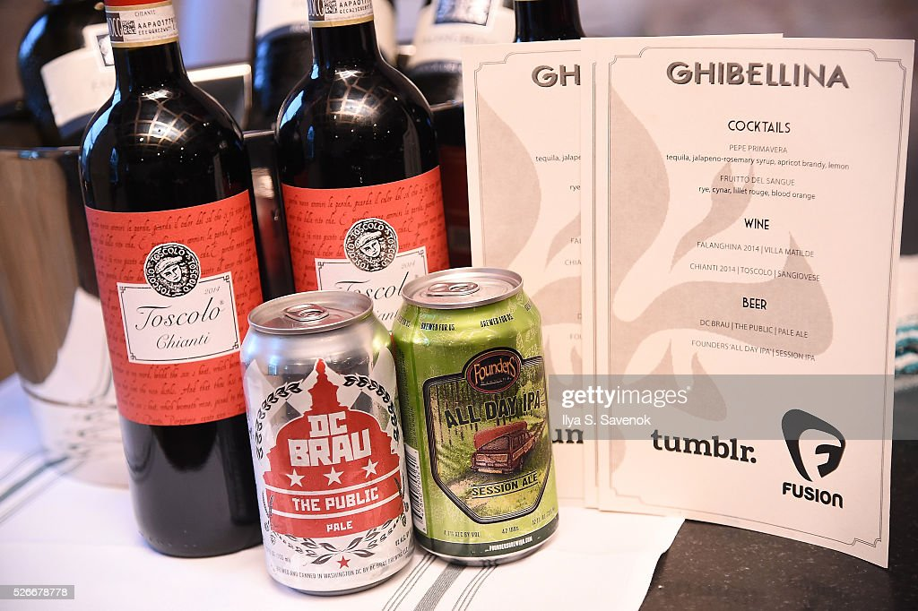 A view of the beverages on display at the Turnt Limit Hosted By Fusion And Tumblr During WHCD Weekend at Ghibellina on April 30, 2016 in Washington, DC.